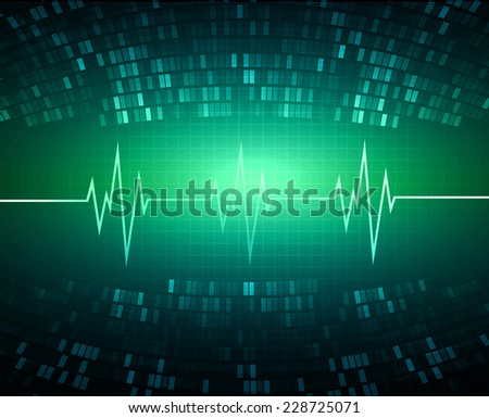 Blue Green color pulse Light Abstract Technology pixels background for computer graphic website and internet, circuit board.  - stock vector