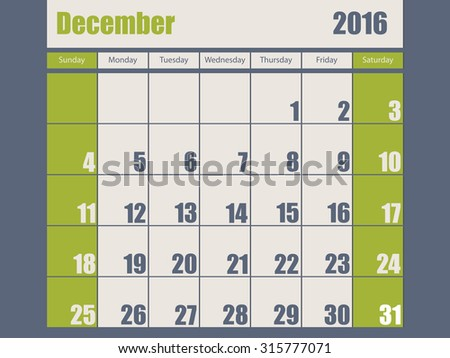 Blue green colored 2016 calendar design for december month - stock vector