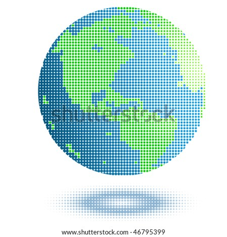 Blue green earth with dots - stock vector