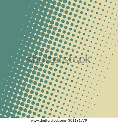 Blue green halftone vintage diagonal vector background. - stock vector