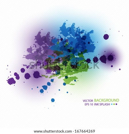 Blue, green, purple ink stains on white paper. Abstract background for design fashionable  website, booklets, banners