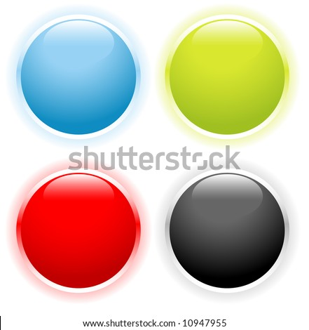 Blue, green, red and black glossy buttons set for web icons - stock vector