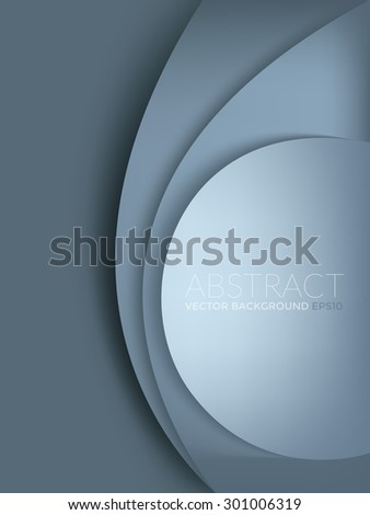 Blue grey pastel vector background with circle and curve line element overlap layer paper for text and message artwork design - stock vector