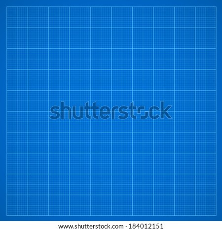 Blue grid paper or oscillograph screen, vector  background - stock vector