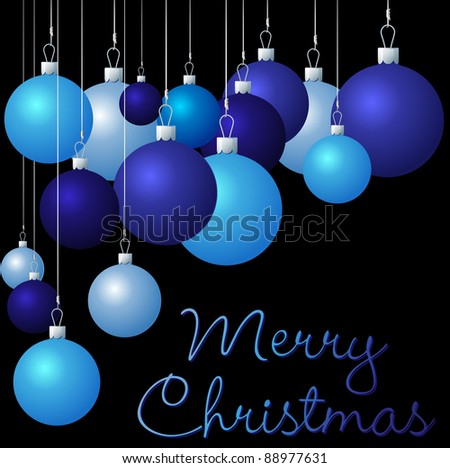 Blue group of Christmas baubles in vector format.