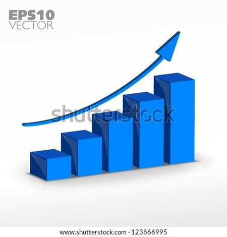 Blue growth graph - stock vector