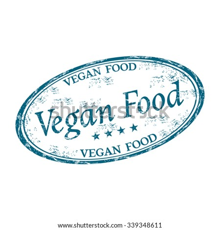 Blue grunge rubber oval stamp with the text vegan food written inside the stamp - stock vector