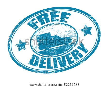 Blue grunge rubber stamp with a delivery car in the middle and the text free delivery written around the stamp - stock vector