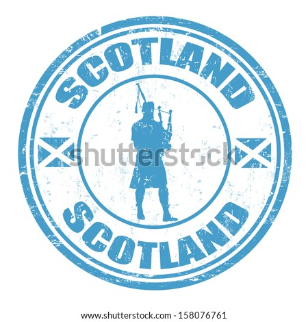 Blue grunge rubber stamp with man silhouette playing the bagpipes and the name of Scotland written inside, vector illustration - stock vector