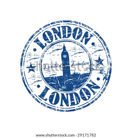 Blue grunge rubber stamp with the building of Big Ben from London - stock vector