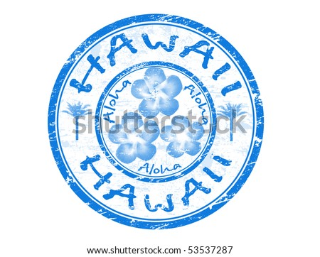 Blue grunge rubber stamp with the name of Hawaii islands written inside the stamp - stock vector