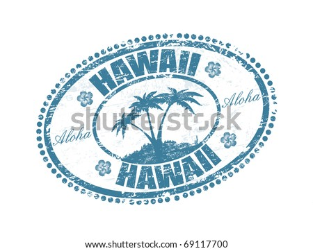 Blue grunge rubber stamp with the palms shape and the name of Hawaii islands written inside the stamp - stock vector