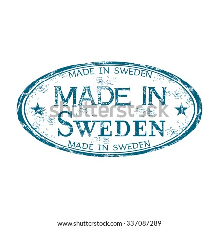 Blue grunge rubber stamp with the text Made in Sweden written inside the stamp