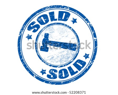 Blue grunge rubber stamp with the text sold written inside the stamp - stock vector