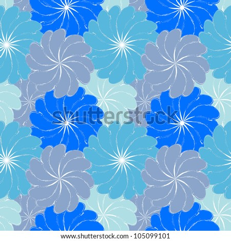 blue grunge seamless pattern with flowers