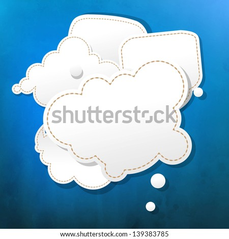 Blue Grunge Texture With Speech Bubble With Gradient Mesh, Vector Illustration - stock vector
