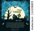 Blue grungy halloween background with full moon, tombstones and bats. Vector Illustration. - stock vector