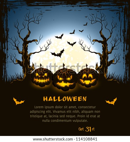 Blue grungy halloween background with spooky pumpkins, full moon, trees and bats.  Vector Illustration.
