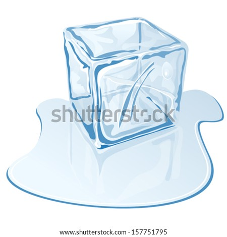 blue half-melted ice cube