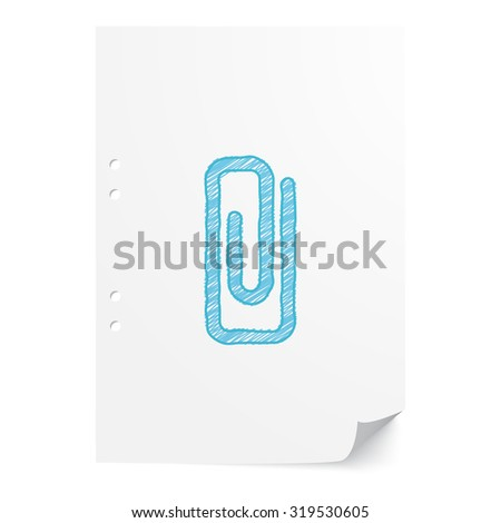 Blue hand drawn Paper Clip illustration on white paper sheet with copy space - stock vector