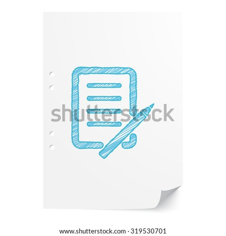 Blue hand drawn Pen And Paper illustration on white paper sheet with copy space - stock vector