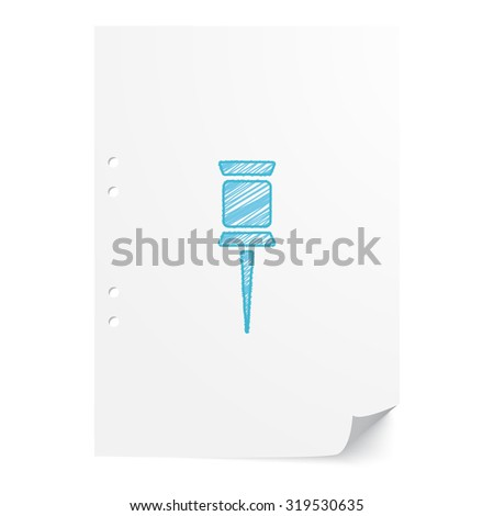 Blue hand drawn Pushpin illustration on white paper sheet with copy space - stock vector