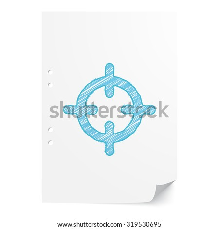 Blue hand drawn Scope illustration on white paper sheet with copy space - stock vector