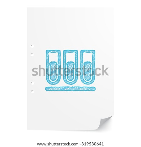 Blue hand drawn Test Tube illustration on white paper sheet with copy space - stock vector