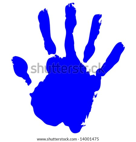 Blue Hand print Vector on pure white background - stock vector