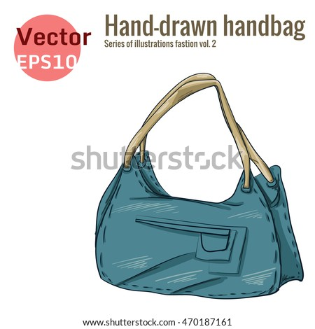 Blue Handbag isolated on a white background. Illustration in hand drawing style.