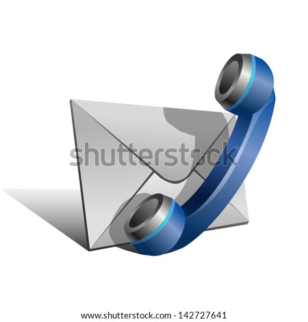 "Blue Handset and envelope isolated on white background. Stylized vector icon of ""Contact us"" page - stock vector"