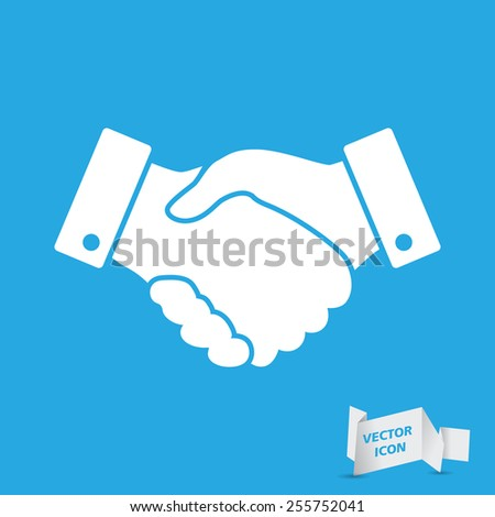 blue handshake vector icon. design for business and finance concept - stock vector