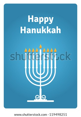 Blue Hanukkah card with a candle - stock vector