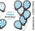 Blue happy birthday postcard with balloons. Vector illustration for your holiday presentation. Easy to use. Postcard picture in light color. - stock vector