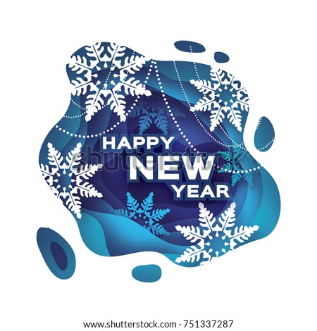 blue happy new year greetings card snowfall paper cut snow flake merry christmas