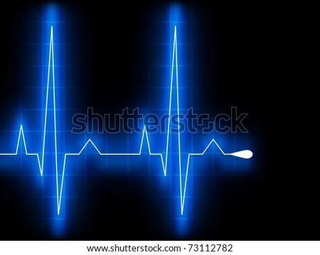 Blue heart beat. Ekg graph. EPS 8 vector file included - stock vector