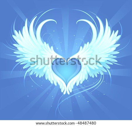 Blue heart of an angel with painted art, beautiful white wings on a blue background radiant - stock vector