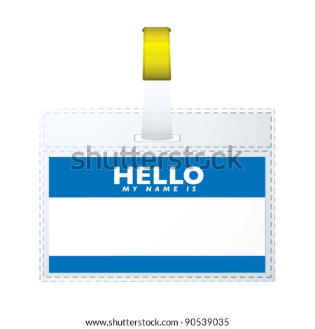 Blue hello my name is business tag with copyspace - stock vector