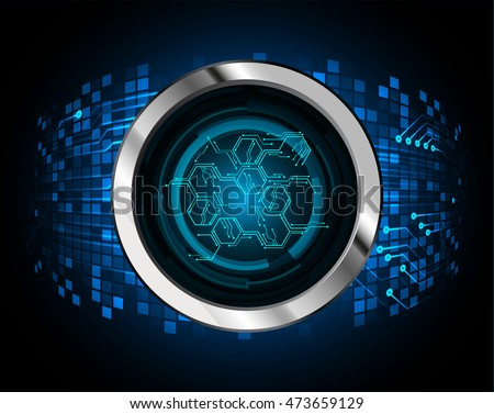 blue hexagon abstract cyber future technology concept background, illustration, circuit. move motion speed. sci-fi. vector, Safety, Closed Padlock on digital. Spark