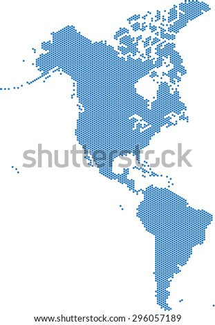 Blue hexagon America map on white background, vector illustration.