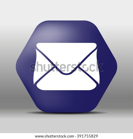 blue hexagon icon or logo white mail - stock vector