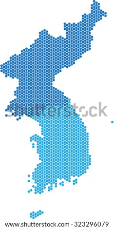 Blue hexagon shape North and South Korea map on white background, vector illustration.