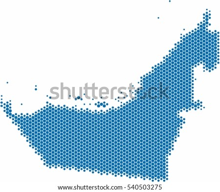Blue hexagon shape United Arab Emirate on white background. Vector illustration.