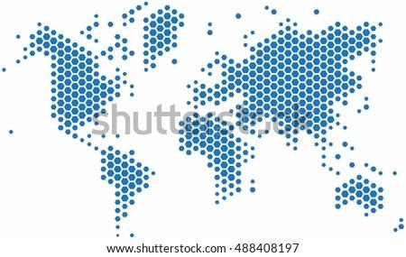 Blue hexagon world map on white stock vector 488408197 shutterstock blue hexagon world map on white background vector illustration gumiabroncs Gallery