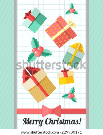 Blue holiday Christmas card with Christmas icons over copybook page - stock vector