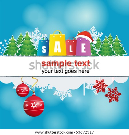 blue holiday christmas header - stock vector