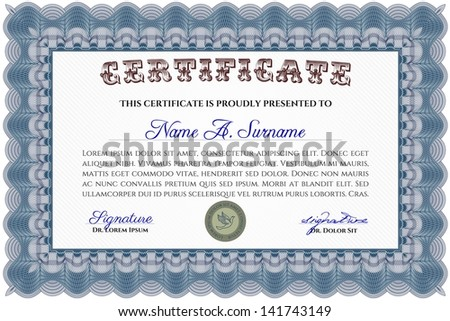 Blue horizontal certificate template - stock vector
