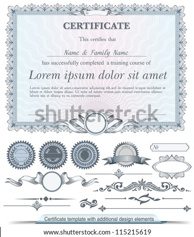Blue horizontal certificate template with additional design elements - stock vector