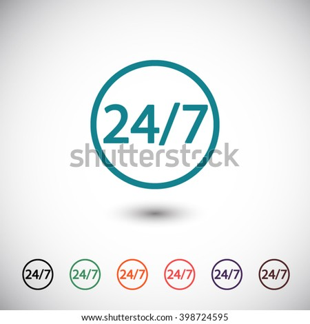 blue 24 hour 7 day icon, black 24 hour 7 day icon, green 24 hour 7 day icon, orange 24 hour 7 day icon, red 24 hour 7 day icon, purple 24 hour 7 day icon, brown 24 hour 7 day icon - stock vector