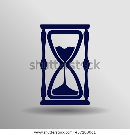 blue Hourglass Icon button logo symbol concept high quality on the gray background